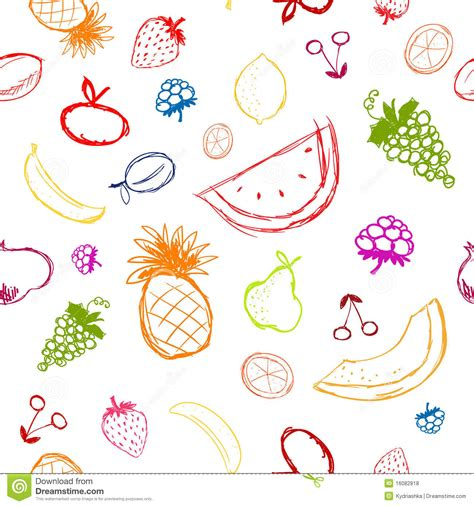 c fruit plano fruits and berries sketch seamless background royalty