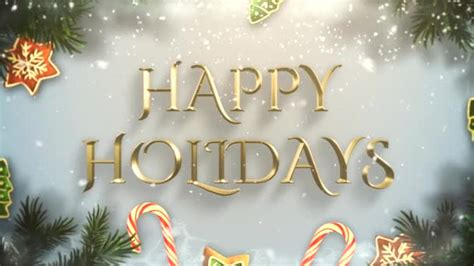 animated closeup happy holidays text green tree branches toys snow stock video  goldleo