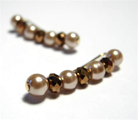 bobby pin earrings faceted bronze crystals and chagne