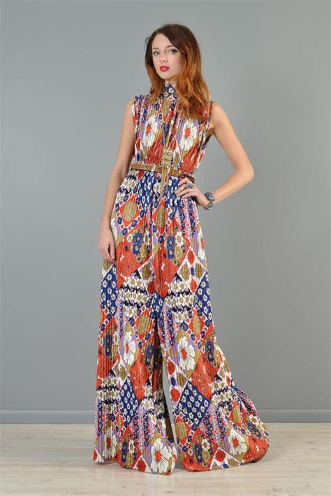 Jumpsuit Palazzo Floral 1960s pleated palazzo leg floral jumpsuit bustown modern