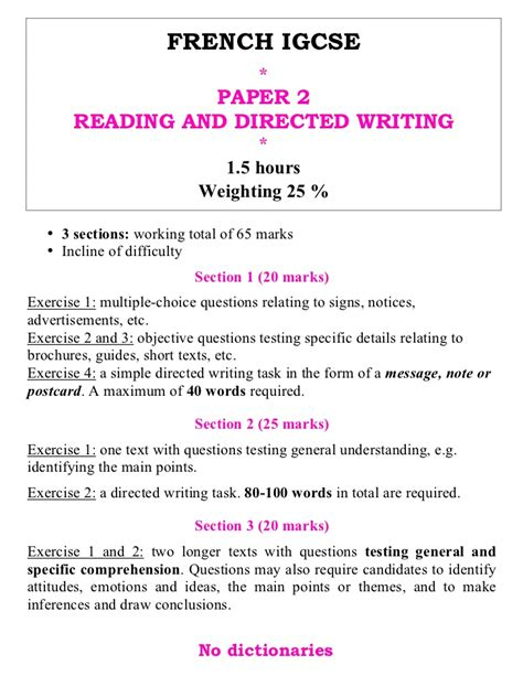 gcse reading and writing past papers igcse paper2