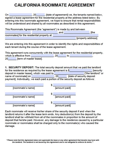 Free California Roommate Agreement Template Pdf Word Rental Contract Template California