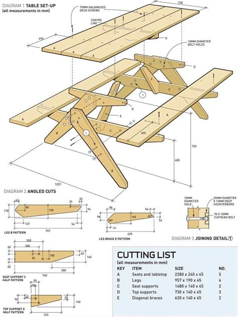printable woodworking plans picnic table build
