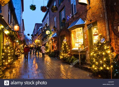 world best christmas city the quaint shopping of rue du petit chlain in stock photo royalty free