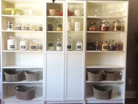 Bookcase Pantry by Billy Bookshelves Organizing Pantry With Baskets And