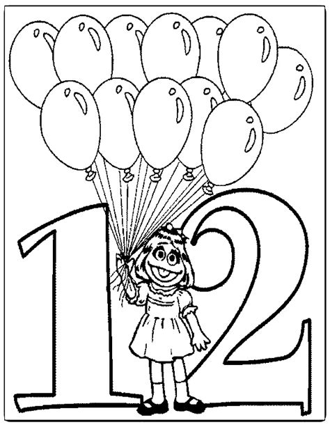 coloring pages of number 12 best photos of sesame street number coloring pages
