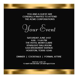 invitation card for business event black white gold black tie corporate 5 25x5 25
