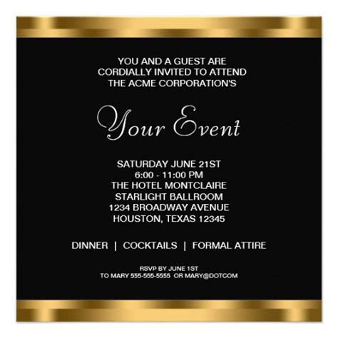 free templates for business event invitation black white gold black tie corporate party 13 cm x 13 cm