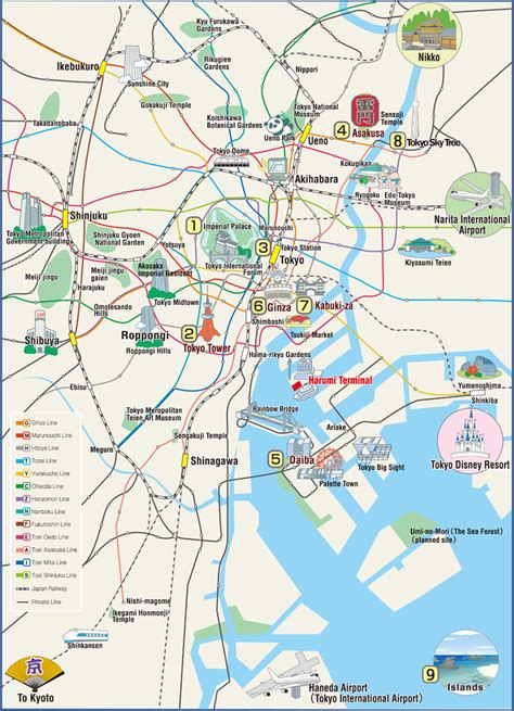 map of sightseeing in tokyo attractions map