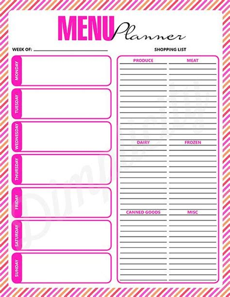 printable menu planner shopping list 6 best images of menu shopping list printable free