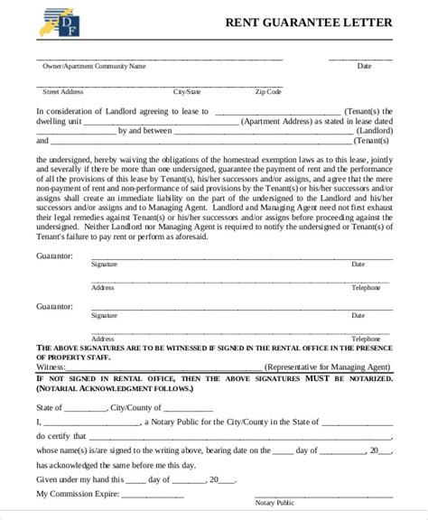 Lease Letter Of Credit guarantee letter