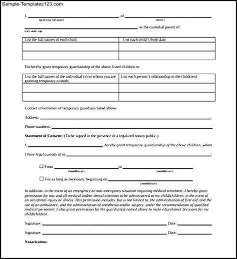 Proof Of Guardianship Letter Notarized Letter For Child Custody Pdf Printable Sle Templates