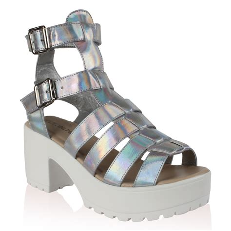 chunky gladiator sandals womens silver holographic chunky heel gladiator