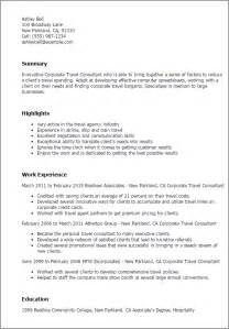 Research Consultant Description by Professional Corporate Travel Consultant Templates To