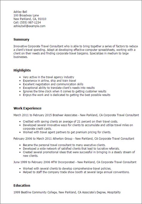 Travel Sle Resume by 1 Corporate Travel Consultant Resume Templates Try Them Now Myperfectresume