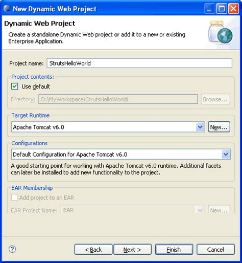 tutorial eclipse web project tutorial creating struts application in eclipse struts
