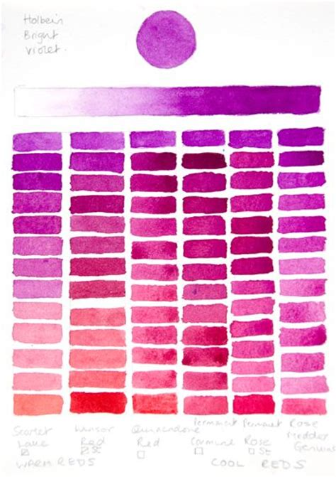 holbein bright violet chart reds watercolor tips charts water and water colors