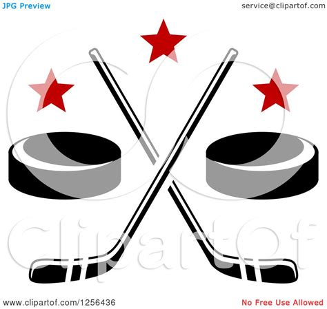 clipart of crossed ice hockey sticks and pucks with stars