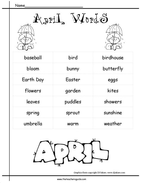 themes word list april lesson plans april holidays and april themes