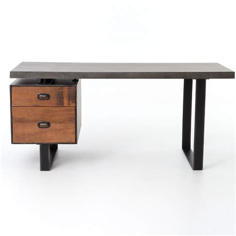 Clapton Industrial Concrete   Wood Desk with File Drawer