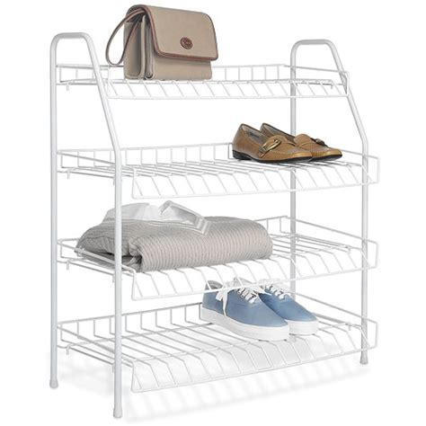 Wire Closet Racks by Four Tier Wire Closet Shelves White In Shoe Racks