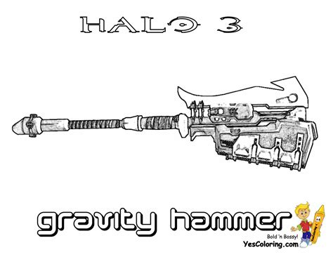 halo guns coloring pages halo 3 colouring pages for kids of gravity hammer