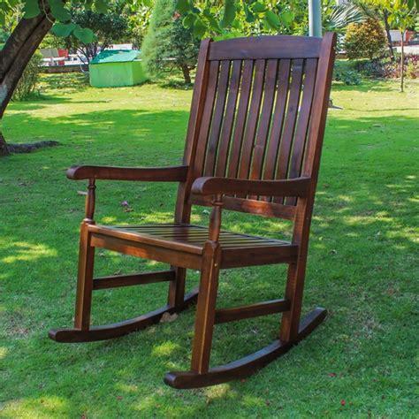 brown patio acacia wooden patio rocker in brown vf 4108 st