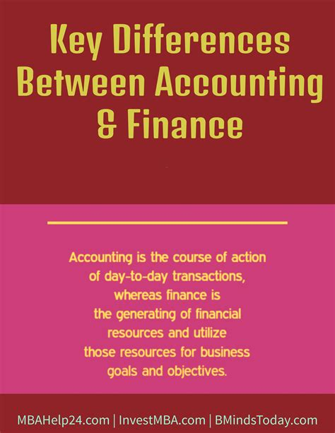 What Is The Difference Between Finance And An Mba by Key Differences Between Accounting And Finance Mba Finance