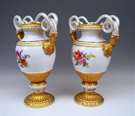 Meissen Vases by Meissen Pair Of Snake Handle Vases With Flowers Circa