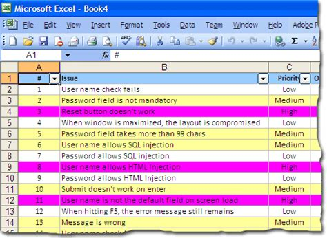bug tracking template yipes stripes color coded rows in excel electrovoid