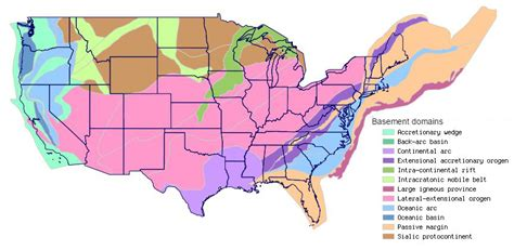 states with basements map shows content and origins of the nation s geologic
