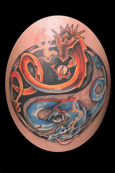 dragon yin yang tattoos and blue yin yang