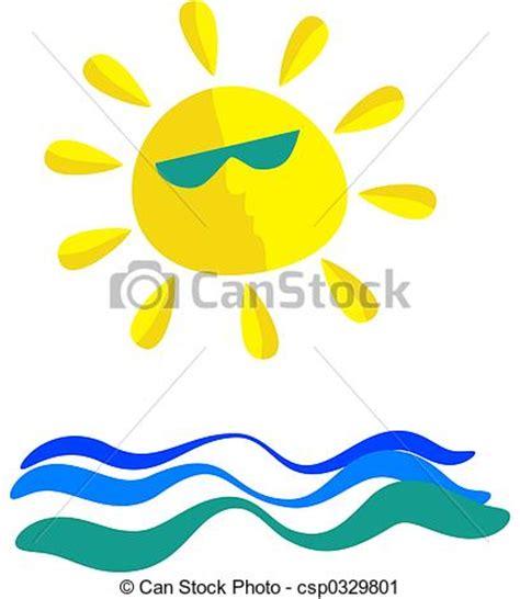 clipart mare clipart di soleggiato mare wavey mare e sole