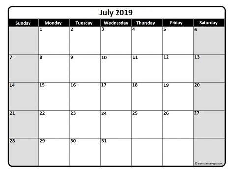 July 2019 Calendar Printable July 2019 Calendar July 2019 Calendar Printable