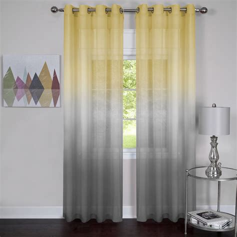 Grey Sheer Curtains Semi Sheer Ombre Curtain Panel 63 Inches 52 X 63 Grey Yellow Home