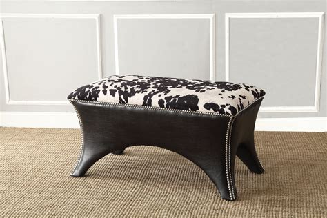 faux cowhide bench accent nail head bench faux cowhide fabric