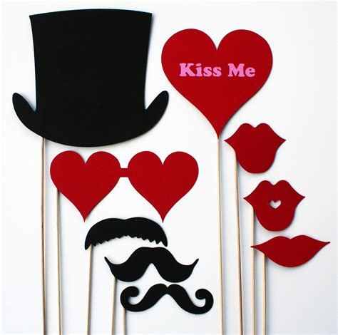 valentines day props valentines day photo booth props 9 by bebopprops on etsy