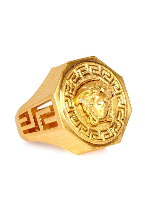 versace gold tone medusa ring in metallic for lyst