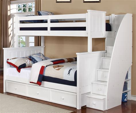white bunk beds with stairs brandon bunk bed twin over full with stairs in white