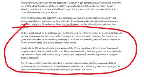 Apple Customer Letter Fbi apple s open letter and relations