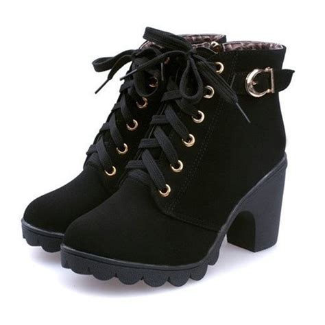 high heel buckle boots womens fashion high heel lace up ankle boots zipper