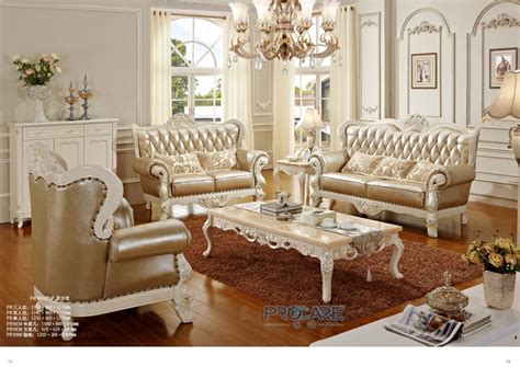 royal living room furniture luxury european royal style golden oak solid wood leather sofas couches living room furniture