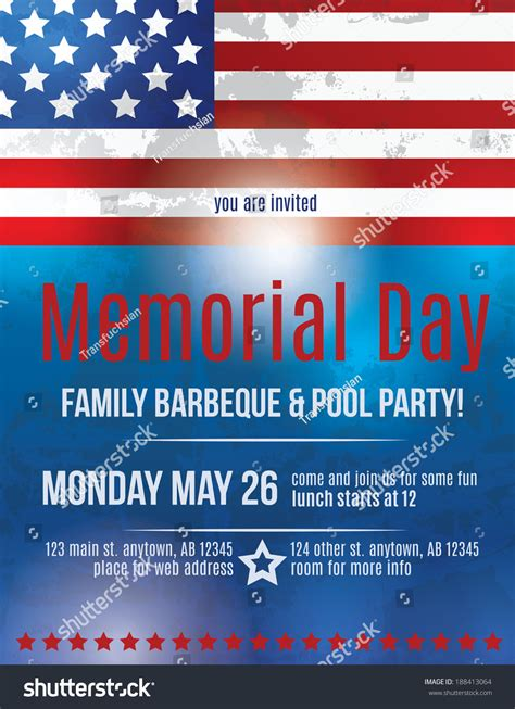 Memorial Day Barbeque Flyer Background Template With American Flag Stock Vector Illustration Free American Flag Flyer Template