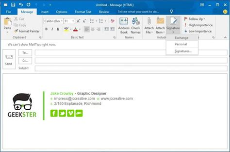 Email Signatures For Outlook 2016 Outlook Signature Template