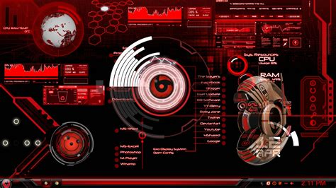 red alienware rainmeter theme anoa tech corporate