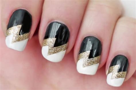 lightning nail art tutorial easy diy gorgeous golden lightning tape nail art tutorial