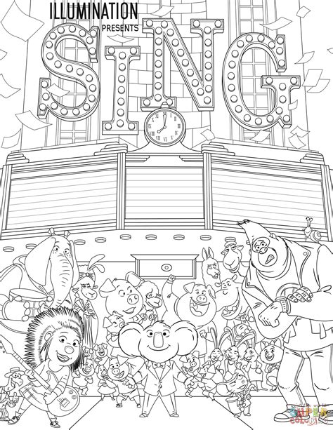 printable coloring pages cing all characters from sing coloring page free printable
