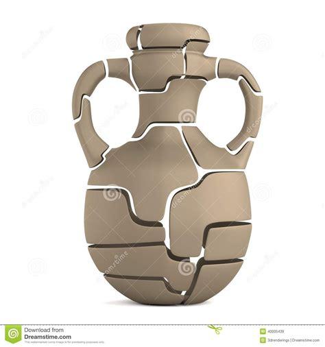 vaso rotto 3d rendono vaso rotto illustrazione di stock