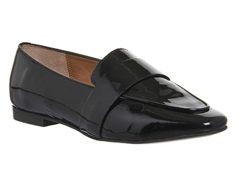 womens black loafers womens office pip clean loafers black patent leather flats