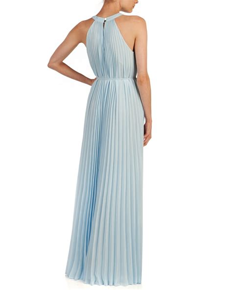 light blue pleated dress lyst ted baker haylea pleated maxi dress in blue